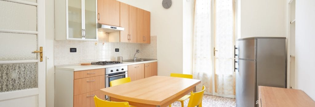 Kitchen interior in renovated, spacious apartment for rent